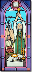 Painting of Stained Glass Window of Fr. Pierre DeSmet  by Michael Shields of Creative Stained Glass Studio LTD in 